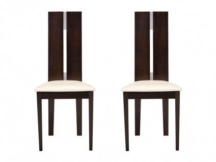 Stuhl 2er-Set Massivholz Salena - Wengefarben - Vorschau 2