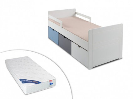 Set Kinderbett mit Schubladen PILOU + Lattenrost + Matratze ZEUS - 90x190cm - Blau