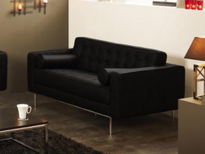 Ledersofa 2-Sitzer Vittoria - Luxusleder - Schwarz