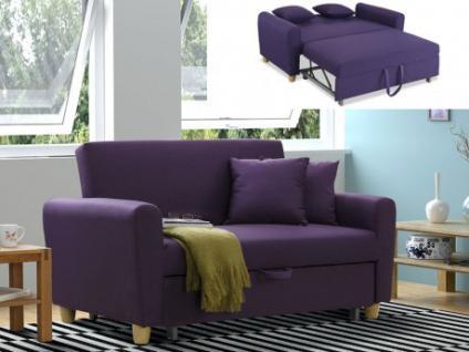 2-Sitzer Sofa Stoff mit Bettfunktion Xavier - Pflaume