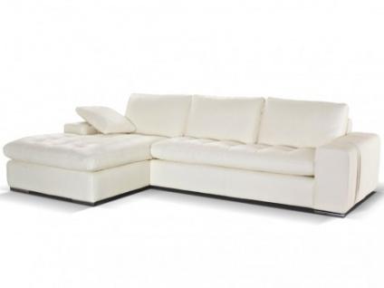 Ledersofa Ecksofa Elegancia - Standardleder - Weiß - Sofaecke Links