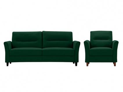 Couchgarnitur 3+1 SIDONIE - Stoff - Dunkelgrün