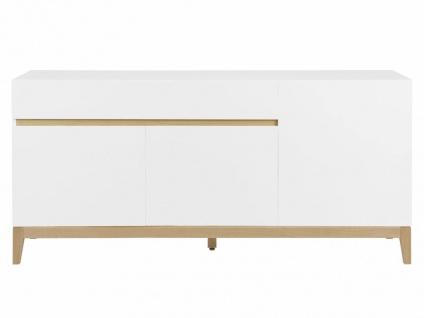 Sideboard Hochglanz SEDNA - 3 Türen + 1 Schublade - Weiß-Holzfarben - Vorschau 5