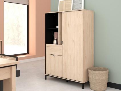 Vitrinenschrank RISLANE - 2 Türen, 1 Schublade & 2 Ablagen - Eiche & Schwarz - Vorschau 2