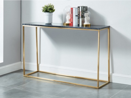 Wandkonsole Design Marmor & Metall ARETHA - Gold/Schwarz
