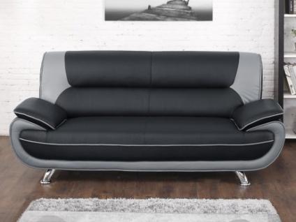 3-Sitzer-Sofa Nigel - Schwarz & Grau