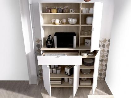 Küchenschrank WAJDI - 4 Türen, 1 Schublade & 3 Ablagen - Weiß & Eiche