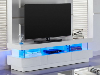 TV-Möbel Hochglanz LED Fabio - Weiß