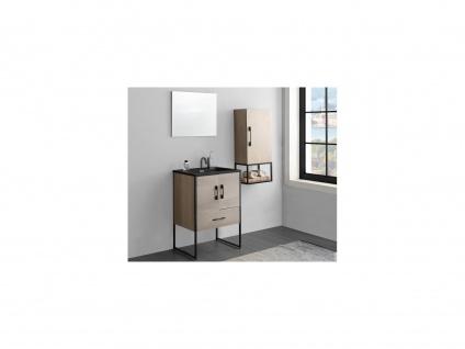 Komplettbad PHENA - Unterschrank + Waschbecken + Spiegel + Oberschrank - Holz-Optik