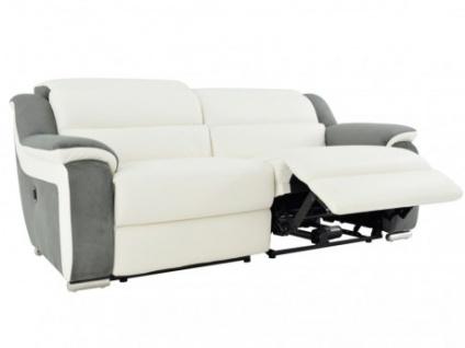Relaxsofa 3-Sitzer Leder Microfaser Incliner Arena II - Weiß/Grau