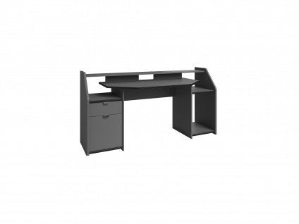 Gaming-Schreibtisch MOBA mit Stauraum & LED-Beleuchtung - Grau