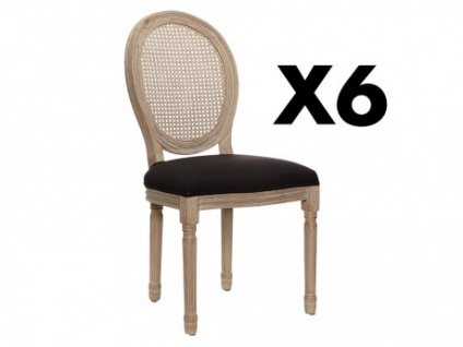 Stuhl 6er-Set Stoff & Holz MARIE-ANTOINETTE - Schwarz