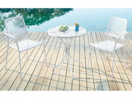 Garten Essgruppe Metall NAJAC - Esstisch & 2 Sessel - Weiß