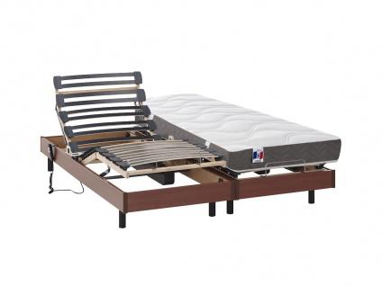 Matratzen elektrischer Lattenrost 2er-Set 100% Latex ANAKE - Kirschholzfarben - 2x80x200 cm