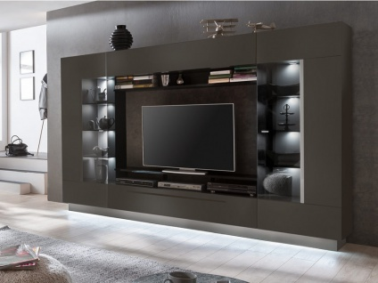 TV-Möbel TV-Wand mit Stauraum & LED-Beleuchtung BLAKE - Anthrazit