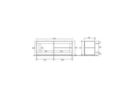TV-Möbel mit LED-Beleuchtung COMETE - 1 Tür & 1 Ablage - Weiß lackiert & Betonfarben - Vorschau 3