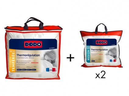 Sparset DODO: Bettdecke 220 x 240 cm + 2 Kopfkissen perfekte Wärme THERMO REGULATION 65 x 65 cm