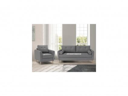 Couchgarnitur 3+1 FLEN - Stoff - Hellgrau