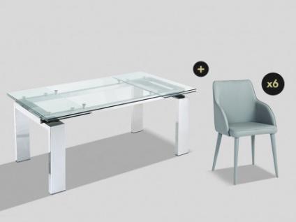 Essgruppe LUBANA: Esstisch + 6 Stühle