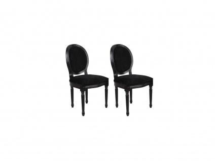 Stuhl 2er-Set Samt Louis XVI - Schwarz