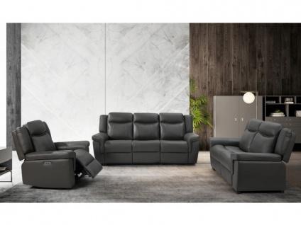 Couchgarnitur Leder mit elektrischer Relaxfunktion 3+2+1 KENNETH - Taupe