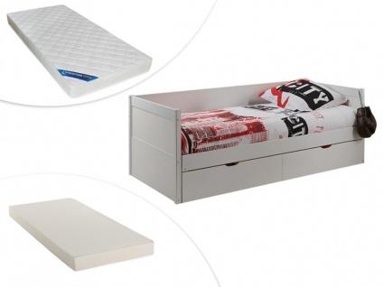 Set Ausziehbett mit Bettkasten ALFIERO + Lattenrost + 2 Matratzen - 2x90x190cm