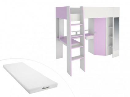 Parisot Set Hochbett Mit Schreibtisch Mila Kleiderschrank