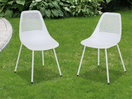 Gartenstuhl 2er-Set NAXOS - Polypropylen - Weiß