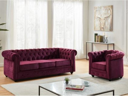 Couchgarnitur 3+1 Samt Chesterfield ANNA - Pflaume