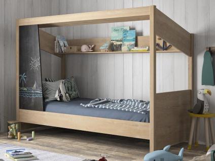 Kinderbett Hausbett NATHAN - mit Kreidetafel & Stauraum - 90 x 200 cm - Eichefarben