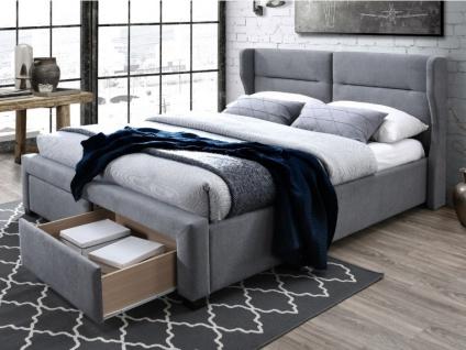 Bett mit Kopfteil und Stauraum Stoff ALESSANDRO - 160x200cm - Grau