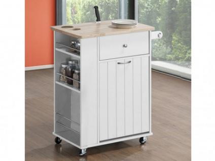Küchenwagen Servierwagen Holz auf Rollen APERITIVO - 1 Tür & 1 Schublade