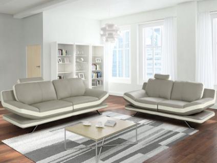 Couchgarnitur Leder 3+2 LATIKA - Grau/Elfenbein