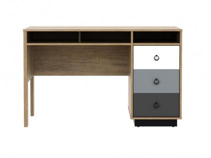 Schreibtisch KRYPTON - 3 Schubladen - Eiche, Weiß & Grau