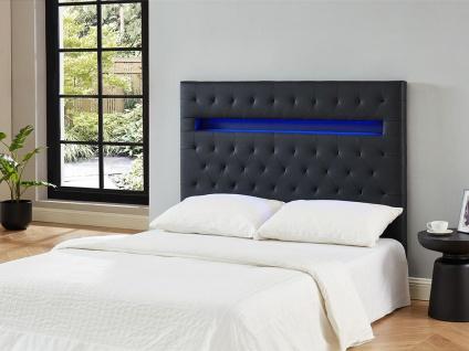 Bett-Kopfteil mit LED-Beleuchtung SUPERNOVA II - 160 cm - Kunstleder - Schwarz