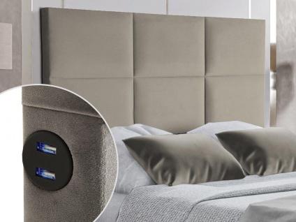 Bett-Kopfteil mit USB-Anschlüssen KARY - 140 cm - Samt - Beige
