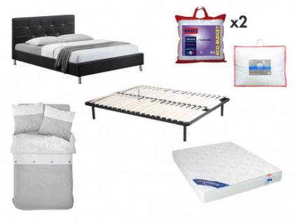 Sparset Schlafzimmer GABIN - Bett 140x190cm (8 tlg.) - Schwarz