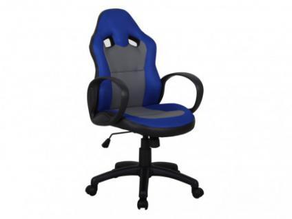 Bürostuhl Drapmo - Höhenverstellbar - Grau & Blau