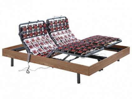 Relax-Lattenrost mit 156 Tellermodulen Eichenholz von DREAMEA - Motor OKIN - 2x90x200cm