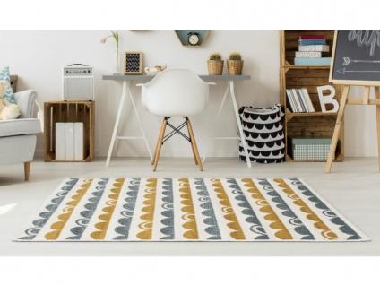 Kinderteppich CUTIE - Polypropylen - 100 x 150 cm - Blau, Beige & Orange
