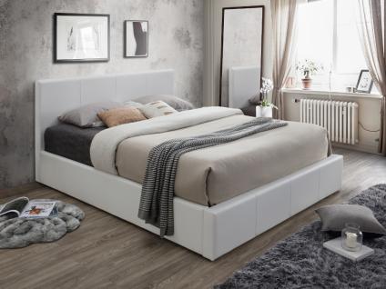 Polsterbett mit Bettkasten TREMPLIN II - 160x200cm - Weiß