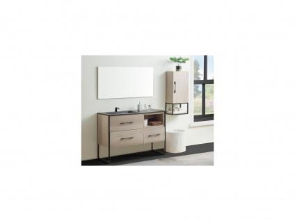 Komplettbad SELANE - Unterschrank + Waschbecken + Spiegel + Regal - Holz-Optik