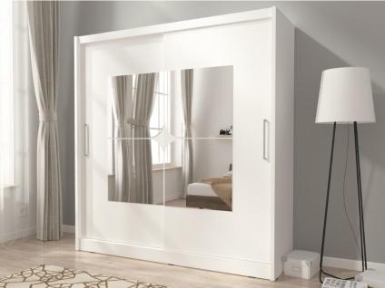 Kleiderschrank mit Spiegeln KATARINA - 2 Schiebetüren - B: 180 cm - Weiß