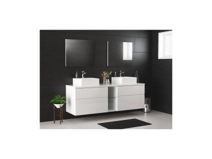 Komplettbad mit Doppelwaschbecken & Spiegeln MAGDALENA - Weiß