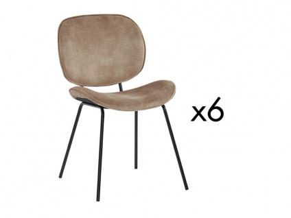 Stuhl 6er-Set SABINE - Samtoptik & Metall - Beige