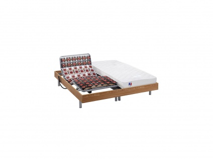 Matratzen elektrischer Lattenrost 2er-Set mit Okin-Motor Homere III - Eichenholz - 2x90x200 cm