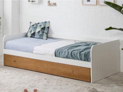 Ausziehbett JULIETTE - 2x90x190cm - Weiß/Kirschholzfarben
