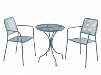 Garten Essgruppe Metall NAJAC - Esstisch & 2 Sessel - Anthrazit