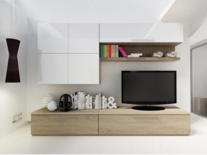 TV-Möbel TV-Wand Hochglanz Makasar - Weiß