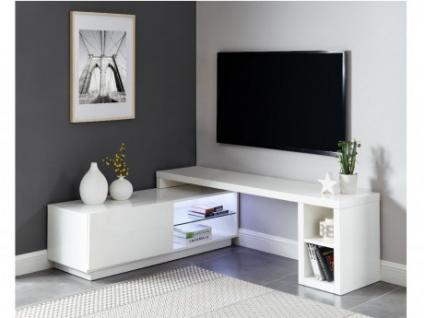 TV-Möbel mit LED-Beleuchtung MALORY - 1 Tür & 4 Ablagen - Ausziehbar